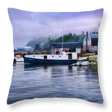Door County Gills Rock Fishing Village Throw Pillow
