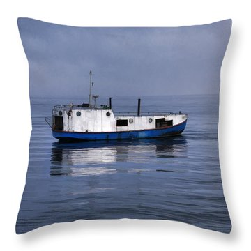 Door County Gills Rock Trawler Throw Pillow
