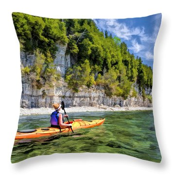 Door County Kayaking Around Rock Island State Park Throw Pillow