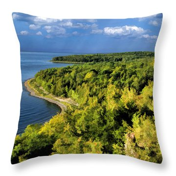 Door County Peninsula State Park Svens Bluff Overlook Throw Pillow by Christopher Arndt