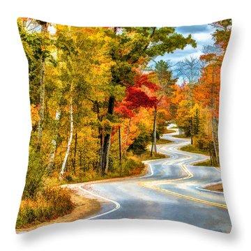 Door County Road To Northport In Autumn Throw Pillow