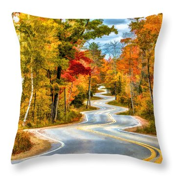 Door County Road To Northport In Autumn Throw Pillow by Christopher Arndt