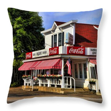 Door County Wilson's Ice Cream Store Throw Pillow