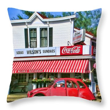 Door County Wilson's Restaurant And Ice Cream Parlor Throw Pillow by Christopher Arndt