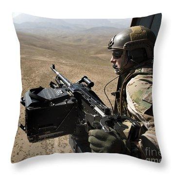 Door Gunner Scans The Terrain Throw Pillow