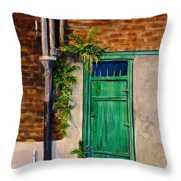 Throw Pillow featuring the painting Door In New Orleans by Dan Redmon
