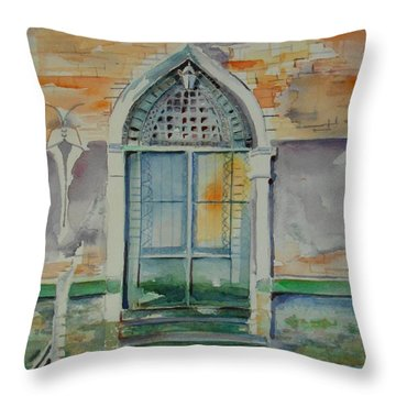 Door In Venice-italy Throw Pillow by Geeta Biswas