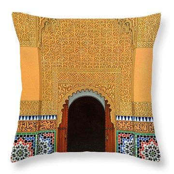 Door, Marrakech, 1998 Acrylic On Linen Throw Pillow