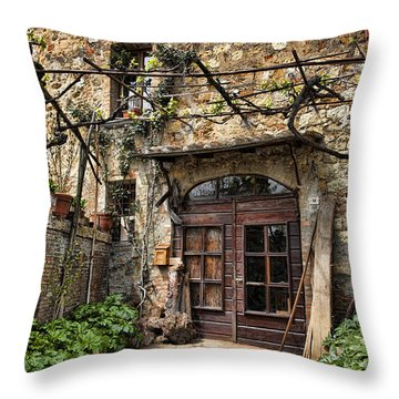 Throw Pillow featuring the photograph Door Montepulciano Italy by Hugh Smith