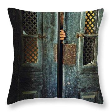 Door Peeking Throw Pillow by Carlos Caetano