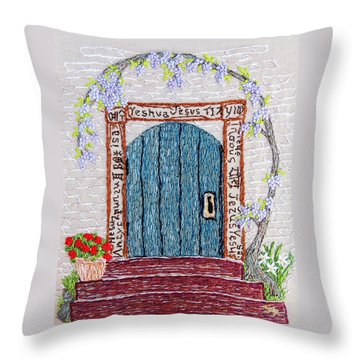 Door With Many Languages Throw Pillow by Stephanie Callsen