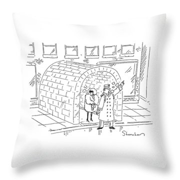 Doorman Hailing Taxi For Woman Outside Igloo Throw Pillow