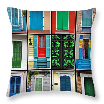 Doors New Orleans Throw Pillow by Christine Till
