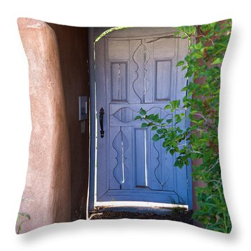 Throw Pillow featuring the photograph Doors Of Santa Fe by Roselynne Broussard
