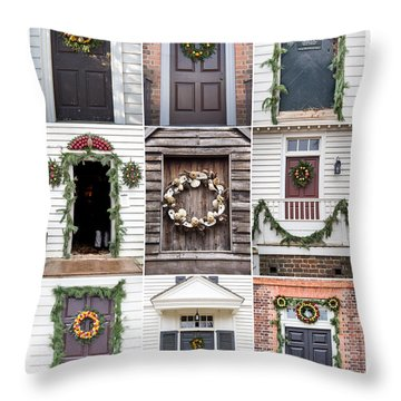 Doors Of Williamsburg Collage 2 Throw Pillow