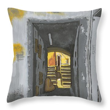 Doorway In Cinque Terra Throw Pillow