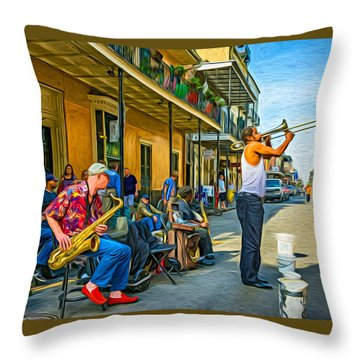 Doreen's Jazz New Orleans - Paint Throw Pillow
