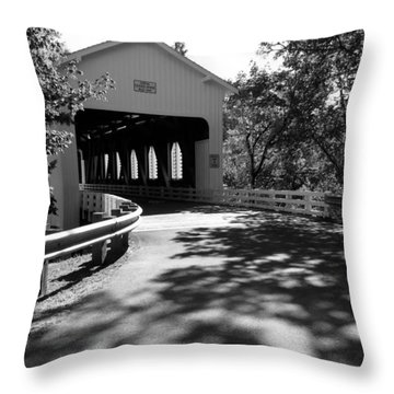 Dorena Covered Bridge Throw Pillow by Katie Wing Vigil