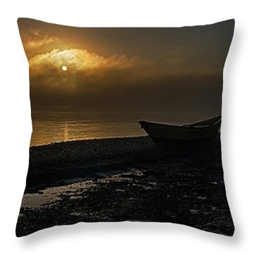 Throw Pillow featuring the photograph Dories Beached In Lifting Fog by Marty Saccone