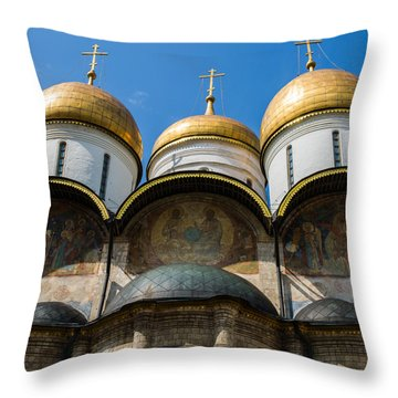 Dormition Cathedral - Square Throw Pillow by Alexander Senin