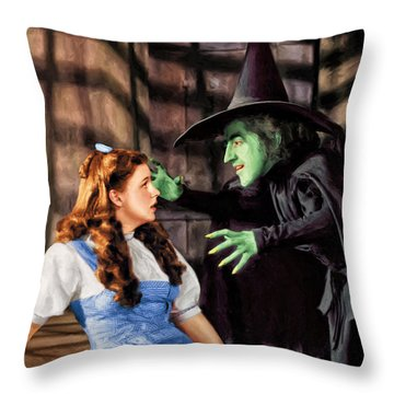 Dorothy And The Wicked Witch Throw Pillow by Dominic Piperata
