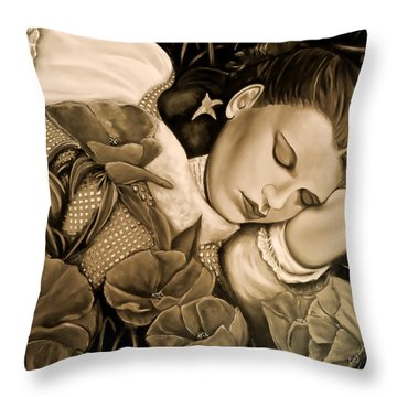 Dorothy's Sleep Sepia Throw Pillow by Cindy Anderson