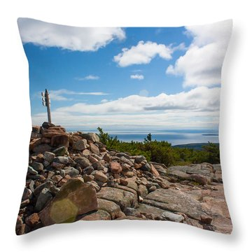 Throw Pillow featuring the photograph Dorr Mountain Summit - Acadia by Kirkodd Photography Of New England
