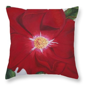 Throw Pillow featuring the painting Dortmund Climber Rose by Sharon Duguay