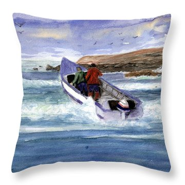 Dory Boat Heading To Sea Throw Pillow