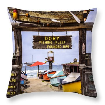 Dory Fishing Fleet Market Newport Beach California Throw Pillow by Paul Velgos