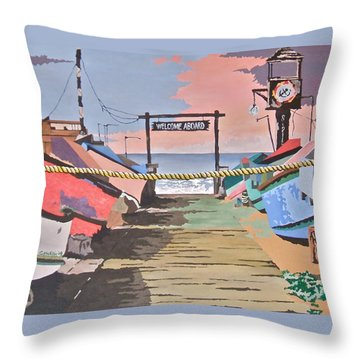 Dory Fishing Fleet -newport Beach Throw Pillow