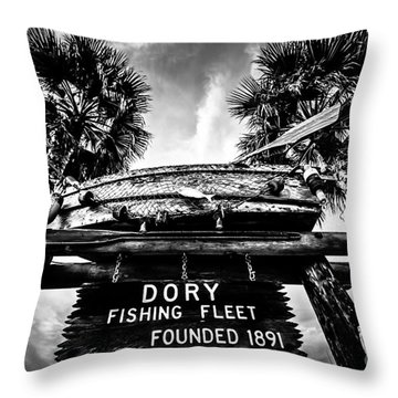 Dory Fishing Fleet Sign Picture In Newport Beach Throw Pillow by Paul Velgos