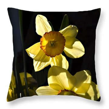 Throw Pillow featuring the photograph Dos Daffs by Joe Schofield