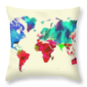 Dotted World Map 2 Throw Pillow by Naxart Studio