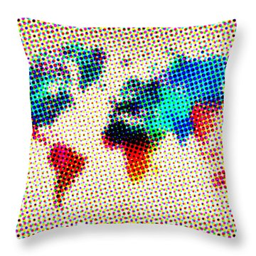 Dotted World Map Throw Pillow by Naxart Studio