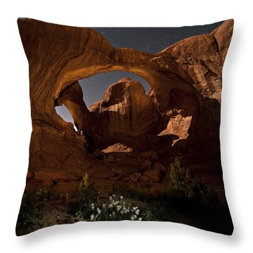 Double Arch In The Moonlight Throw Pillow