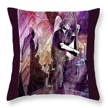Double Bass Silhouette  Throw Pillow