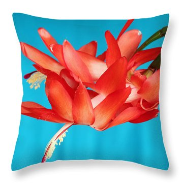 Double Bloom In Red Throw Pillow