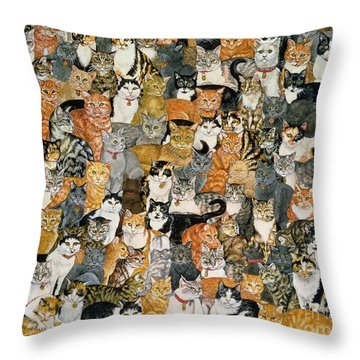 Double Cat Spread Throw Pillow