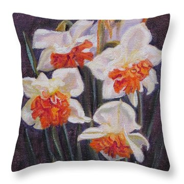 Double Daffodil Replete Throw Pillow