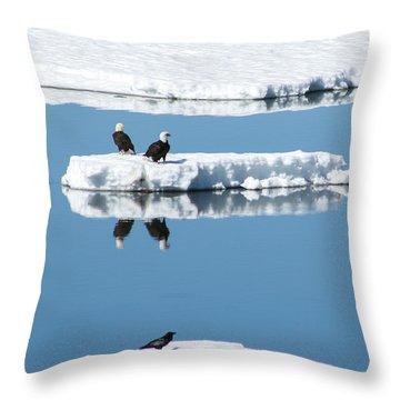 Double Eagle - Ice Birds Throw Pillow by Jan Davies