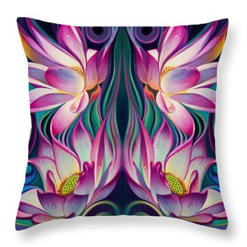 Double Floral Fantasy 2 Throw Pillow