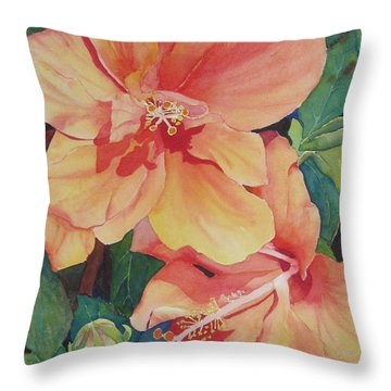 Throw Pillow featuring the painting Double Hibiscus by Judy Mercer
