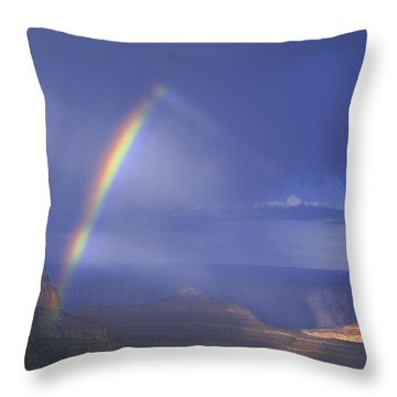 Double Rainbow At Cape Royal Grand Canyon National Park Throw Pillow