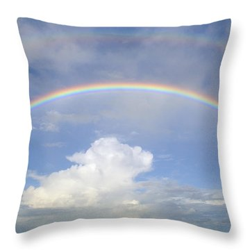 Double Rainbow At Sea Throw Pillow