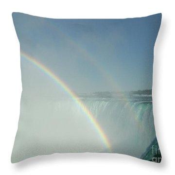 Throw Pillow featuring the photograph Double Rainbow by Brenda Brown
