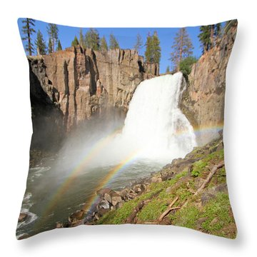 Double Rainbow Falls Throw Pillow by Adam Jewell