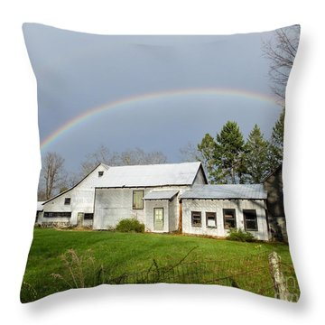 Throw Pillow featuring the photograph Double Rainbow Over Barn by Kristen Fox