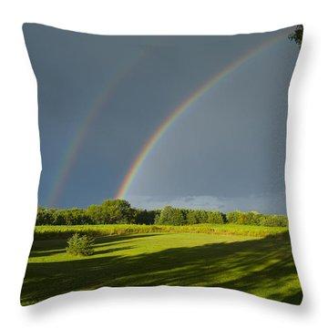 Double Rainbow Over Fields Throw Pillow
