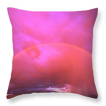 Double Rainbow Over Mount Shasta Throw Pillow by Dave Welling